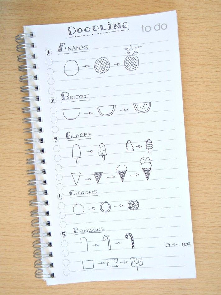 comment faire des doodling bonbon, glace, ananas et pastèque